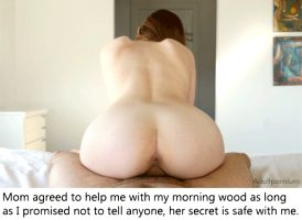 Mom helps with son's morning wood.